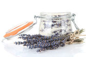 Jar of lavender sugar, isolated on white — Stock Photo