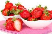 Fresh strawberry in bowl isolated on white — Stock Photo