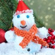 Beautiful snowman and Christmas decor, on bright background — Stockfoto