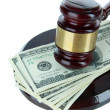 Stok fotoğraf: Gavel and money isolated on white