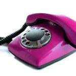 Purple retro telephone, isolated on white — Stock Photo #34502257