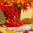 Red berries of viburnum and vase with flowers on table close up — Stock Photo