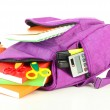 Purple backpack with school supplies isolated on white — Stock Photo #34502961