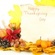 Beautiful autumn Thanksgiving Day composition, isolated on white — Stock Photo #34502963
