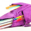 Purple backpack with school supplies isolated on white — Stock Photo #34503843