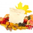 Beautiful autumn Thanksgiving Day composition, isolated on white — Stock Photo #34504295
