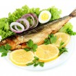 Smoked fish on plate isolated on white — Stock Photo