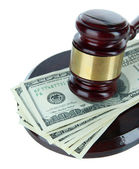 Gavel and money isolated on white — Stock Photo