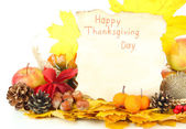 Beautiful autumn Thanksgiving Day composition, isolated on white — ストック写真