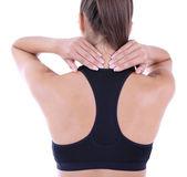 Giovane ragazza e dolore nel collo isolato su bianco — Foto Stock