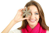 Beautiful smiling girl with Christmas snowflake isolated on white — Stock Photo