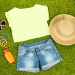 Top, shorts and beach items on bright green background — Stock Photo #34510323