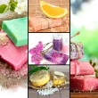 Natural soaps collage — Stock Photo