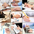Collage of business people hands in different situations — Stock Photo #34632773