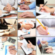 Stock Photo: Collage of business people hands in different situations