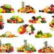 Collage of fruits and vegetables isolated on white — Stock Photo #34632817