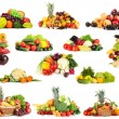 Collage of fruits and vegetables isolated on white — Stock Photo