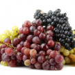 Assortment of ripe sweet grapes isolated on whit — Stock Photo