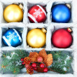 Beautiful packaged Christmas balls, close up — Foto de stock #34636367