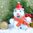 Beautiful snowman and Christmas decor, on bright background — Photo