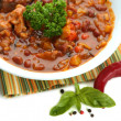 Stock Photo: Chili Corn Carne - traditional mexican food, isolated on white
