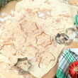 Making Christmas cookies on wooden board on tablecloth background — Foto Stock