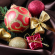 Beautiful Christmas decor on brown satin cloth — Stock Photo #34636501