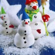 Beautiful snowmen and Christmas decor, on bright background — Photo