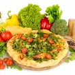 Tasty vegetarian pizza and vegetables, isolated on white — Stock Photo #34636963