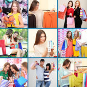 Collage of shoppers in clothing department — Foto Stock