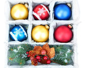 Beautiful packaged Christmas balls, close up — ストック写真