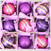 Beautiful packaged Christmas balls, close up — Stockfoto