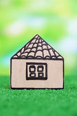 Wood house on grass on natural background — Stock fotografie