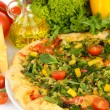 Tasty vegetarian pizza and vegetables, isolated on white — Stock Photo
