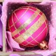 Beautiful packaged Christmas ball, close up — Stockfoto #34822957
