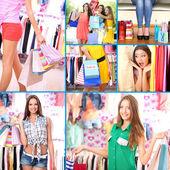 Collage van shoppers in kleding departement — Stockfoto