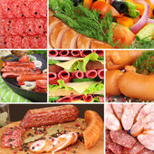 Sausages collage — Stock Photo