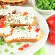 Stock Photo: Sandwiches with cottage cheese and greens on plate isolated on white
