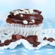 Tasty cupcake on table close up — Stock Photo