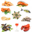 Foto Stock: Seafood isolated on white