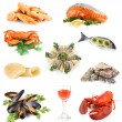 Seafood isolated on white — Stockfoto