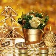 Christmas composition  with candles and decorations in gold color on bright background — Foto Stock