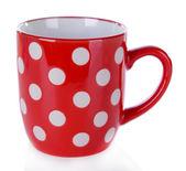 Red polka dot mug isolated on white — Stock Photo