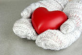 Female hands in mittens with heart, close-up — Foto de Stock