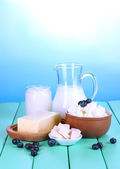 Fresh dairy products with blueberry on wooden table on natural background — Photo
