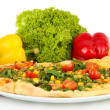 Tasty vegetarian pizza and vegetables, isolated on white — ストック写真