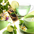 Collage of healthy green tea — Stock Photo #34846605
