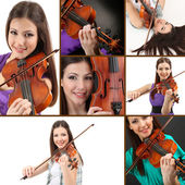 Beautiful young girl with violin — Stock Photo
