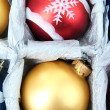 Beautiful packaged Christmas balls, close up — Foto de stock #34851103