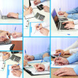 Collage of business people hands in different situations — Stock Photo #34855259